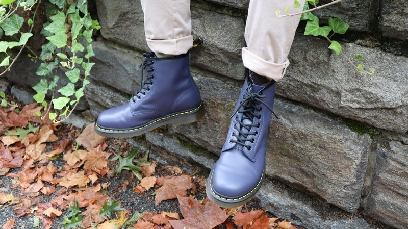 Dr Martens 1460 model sitting on wall 2