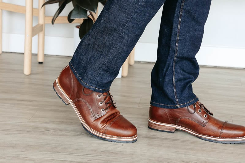 Helm Boots leather break in crease