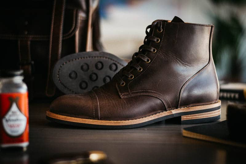 Oliver Cabell SB 1 Service Boot with Venetial leather balm shoe care