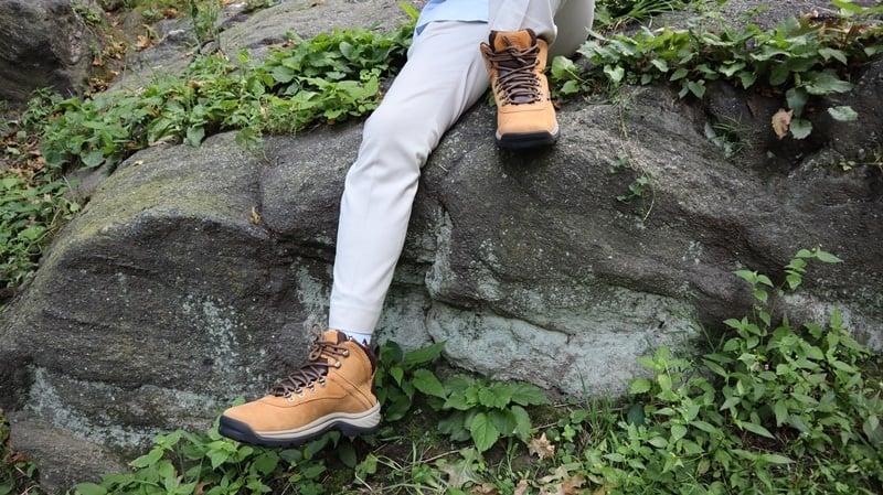 Timberland White Ledges model on rock 2