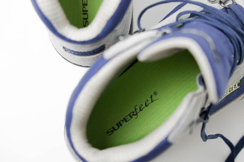 superfeet green insole in hiking boot