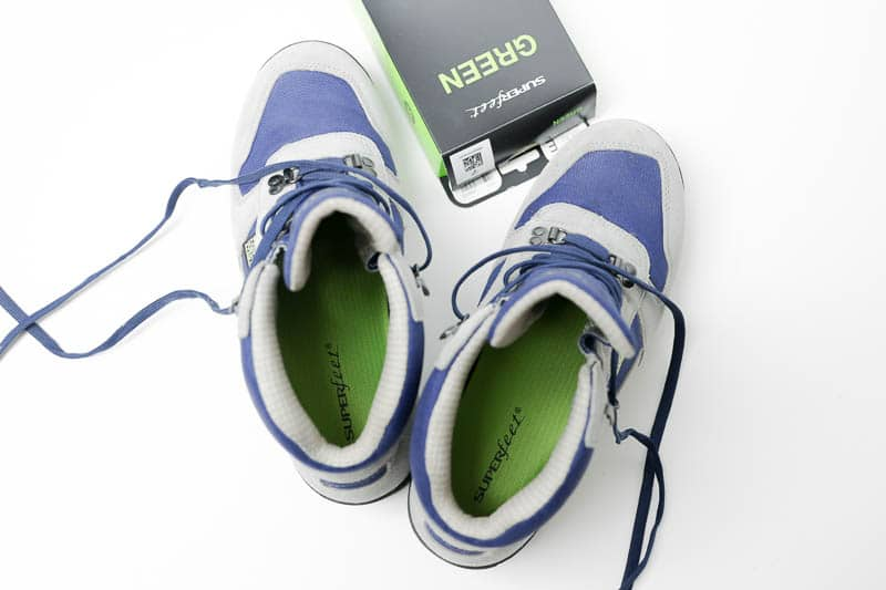 superfeet green insole top down in hiking boot
