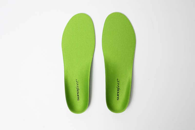 superfeet green insole top down side by side