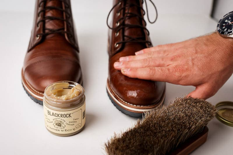 use hand to apply Blackrock leather n rich