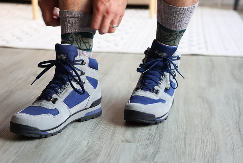 vasque hiking boot on model with socks