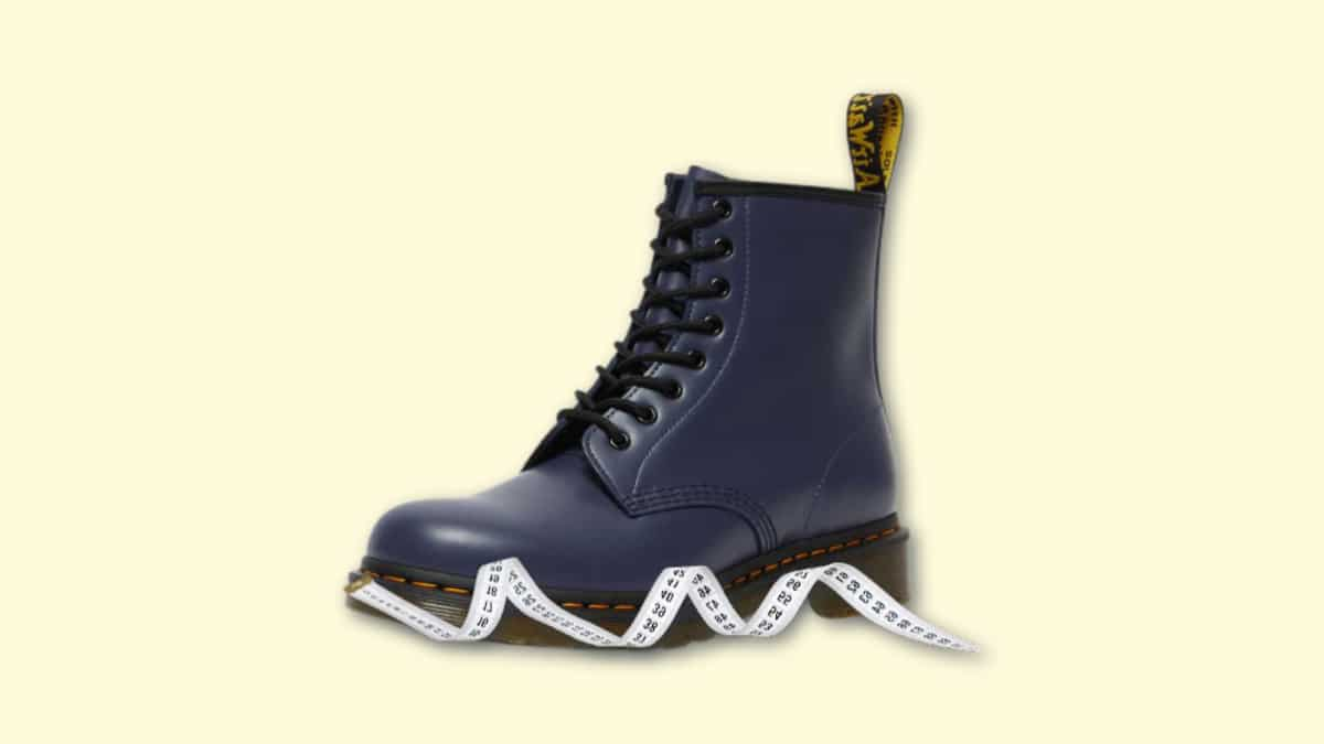 Do Doc Martens Run Big Doc Martens 1460s on Blank Background with Ruler
