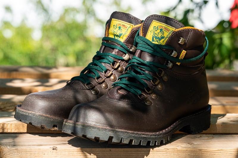 Jim Green Razorback brown hiking boots closeup