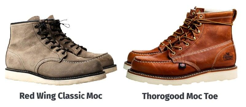 Red Wing Classic Moc vs Thorogood Moc Toe Comparison