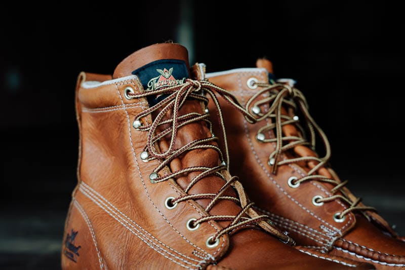 Thorogood branding tag and laces