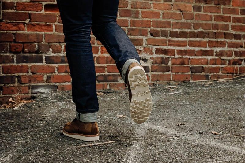 Thursday Diplomat vibram christy wedge sole on foot