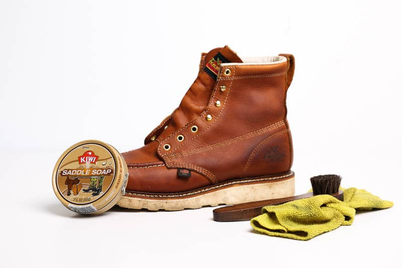 kiwi saddle soap on thorogood boots