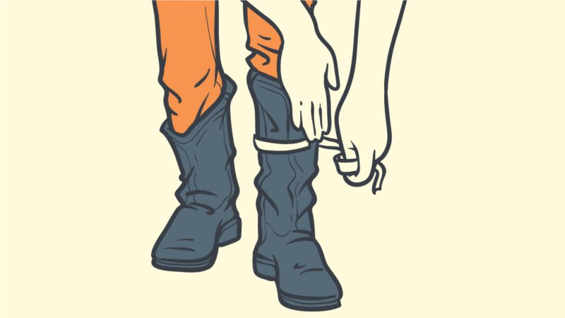 Boot Shaft Cartoon Drawing of Man Wearing Cowboy Boots Measuring Shaft of Boot