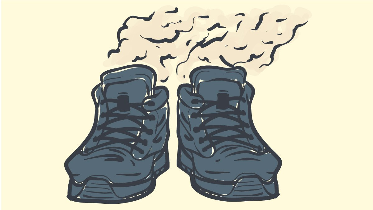 Breathable work boots for sweaty feet cartoon graphic of stinky work boots
