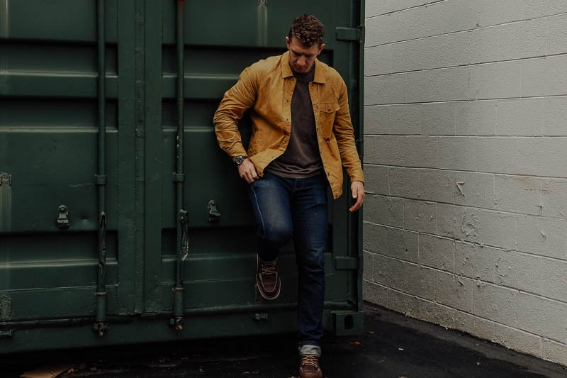Danner Bull Run boots on model with yellow jacket
