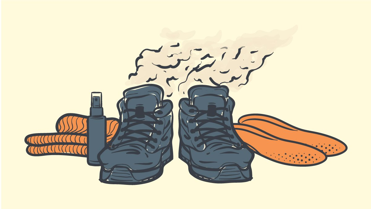 How to keep your feet from sweating in work boots cartoon drawing of smelly boots with products around them